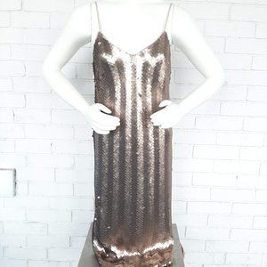 NWT J.Crew Gold Sequin Herringbone Slip Dress